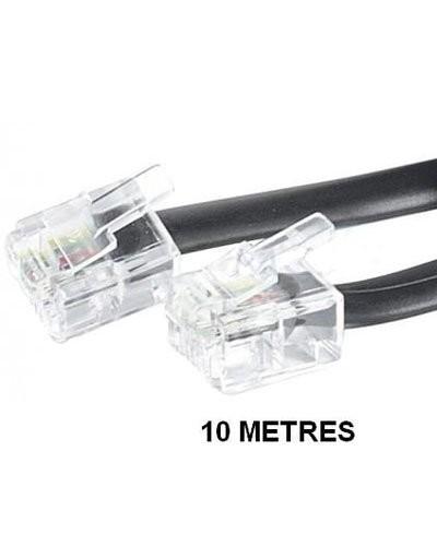 Câble téléphonique RJ11 - 10 m - Noir