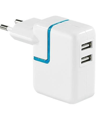 Adaptateur secteur USB 2 prises