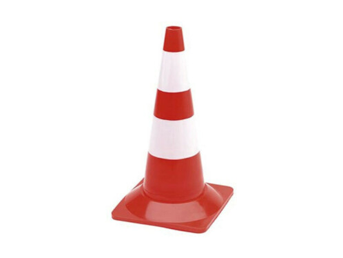 Pack de 5 cônes de signalisation rouge et blanc - 50 cm
