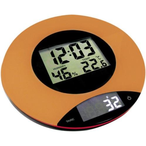Balance De Cuisine Digitale Avec Thermometre Horloge Hygrometre Couleur  Orange INOBCE01