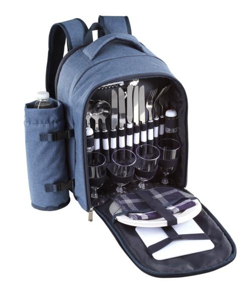sac à dos avec couverts assiettes verres accessoires pour repas nature pique nique free line bleu