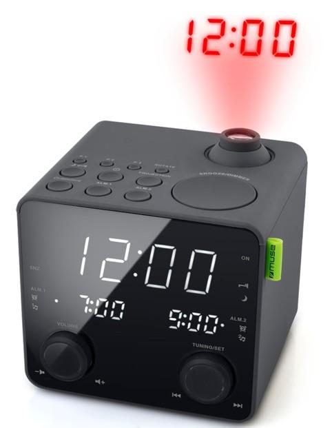 mini radio reveil cube avec projection heure double reveil chargeur usb muse m189p