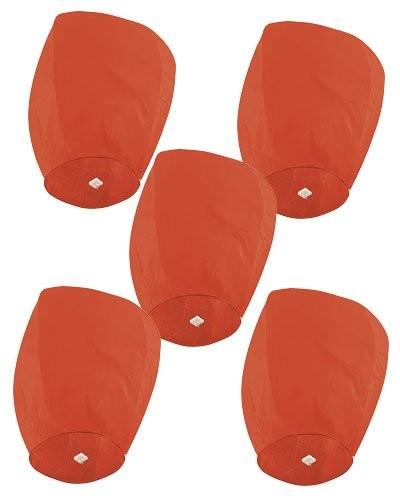 5 Lanternes volantes porte-bonheur rouges