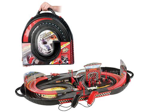 Valise avec circuit de course intégré, alimentation par piles