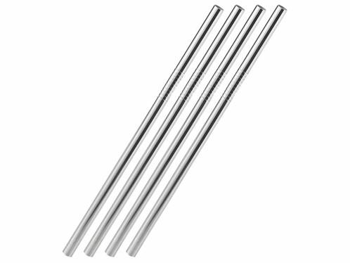 4 pailles droites en acier inoxydable