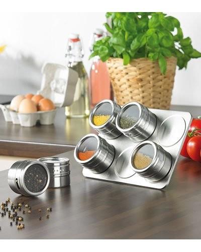 Support à épices magnétique avec 6 pots