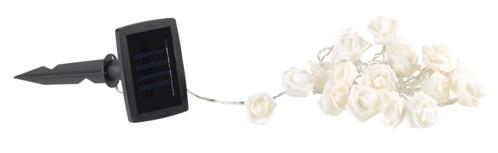 guirlande lumineuse d'extérieur avec alimentation solaire et petites roses blanches 2m