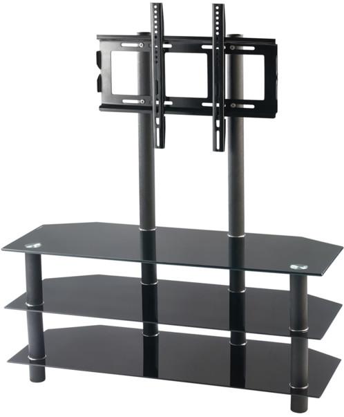 Meuble Tv Avec Vesa Et Triple Tablette En Verre Noir : Meuble Tv