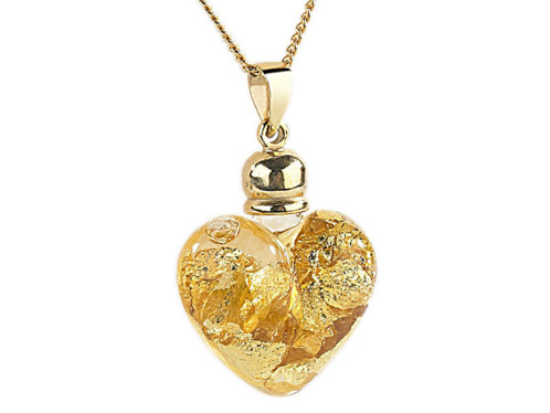 Collier cœur de verre et feuilles d'Or