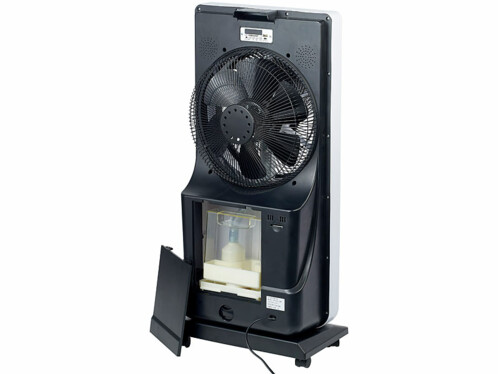 grand ventilateur oscillant avec fonction vaporisateur et haut parleur mp3 intégré sichler