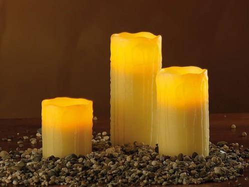 3 Bougies à LED en cire avec télécommande