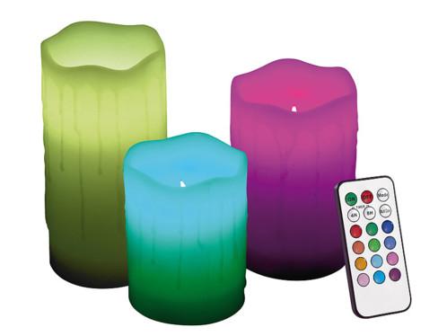 3 Bougies en cire à LED couleur changeante