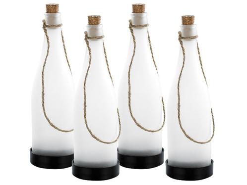 4 bouteilles à LED solaires - blanc chaud