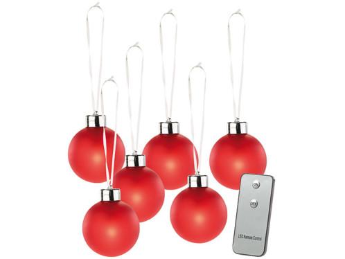6 Boules de Noël lumineuses rouges avec télécommande