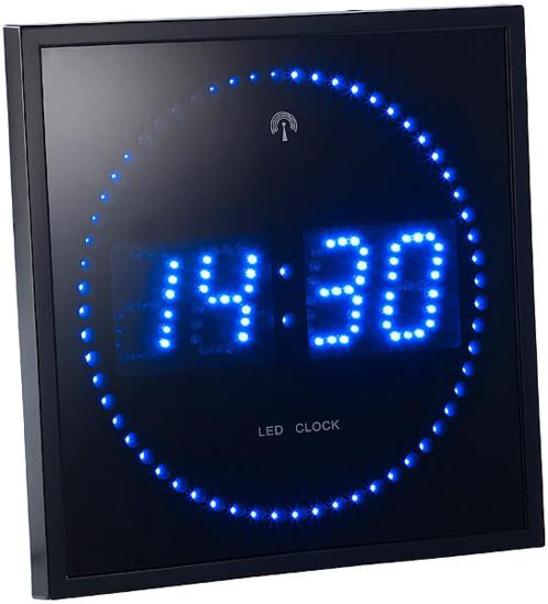 horloge murale avec chiffre et secondes led ou bleu pearl be