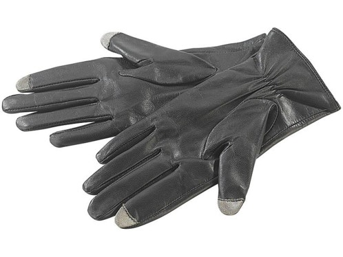 Gants dames en cuir pour écrans tactiles capacitifs taille S