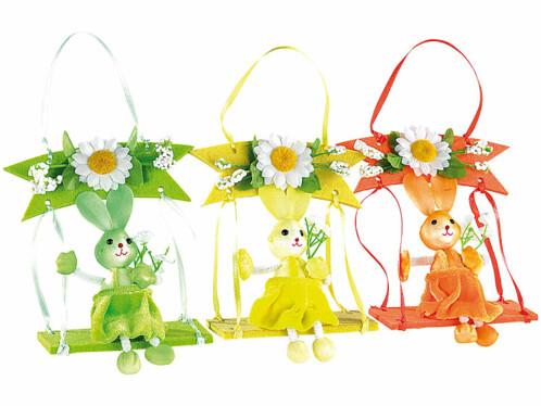 Lot de 3 Petits lapins décoratifs sur balançoire