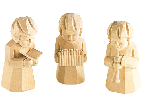 Trio de figurines en bois sculpté ''Musiciens de Noël''