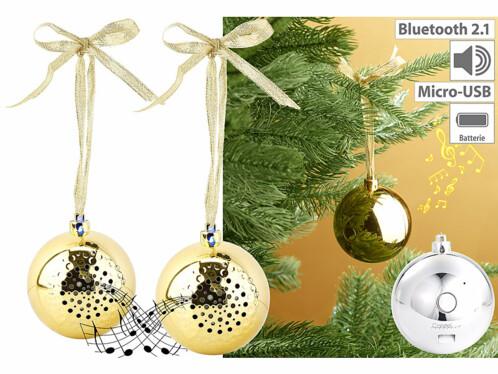 2 boules de no l dor es avec haut parleur - Decoration boule de noel en polystyrene ...
