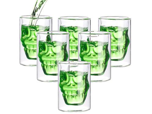Lot de 6 verres à double paroi ''Tête de Mort'' par Cucina Dimodena.
