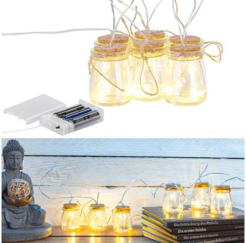 6bocaux lumineux décoratifs avec guirlande à LED blanc chaud