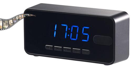 reveil digital avec camera espion hd intégrée et programmation d'enregistrement surveillance domicile airbnb octacam