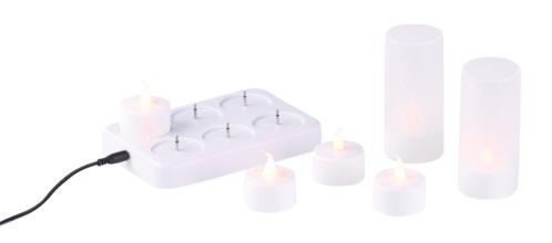 6 bougies plates à LED flamme scintillante