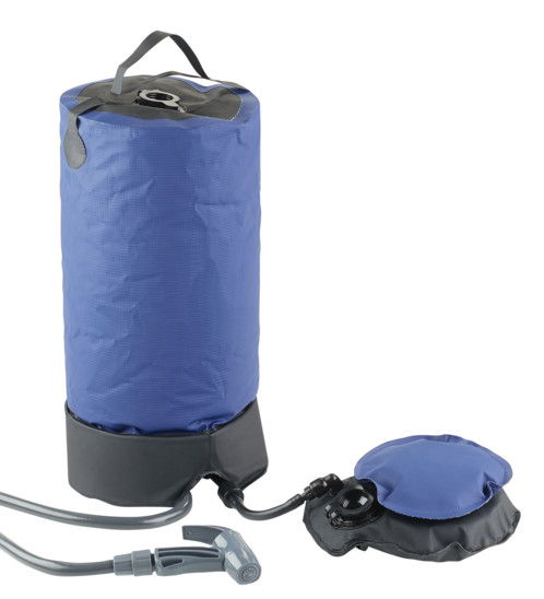 Douche de camping nomade 11 L avec pompe à pied