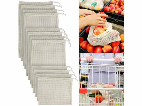12 sacs en coton pour fruits et légumes
