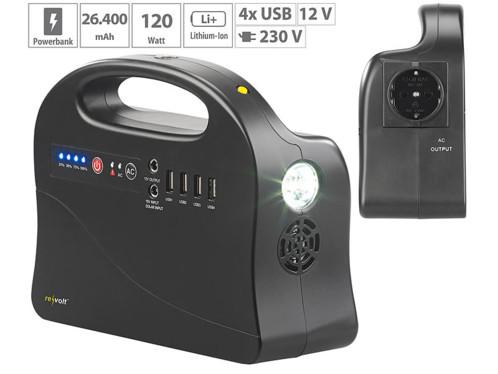 Batterie nomade 26,4A & convertisseur solaire avec prises 230 V/12 V/USB HSG-260