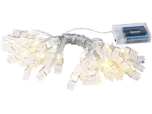 Guirlande lumineuse led avec pinces pour suspension photos for Guirlande porte photo avec pinces linge