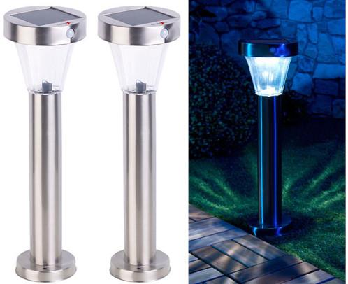 """Lanternes de jardin solaires """"Silva""""  en acier inoxydable - x2"""