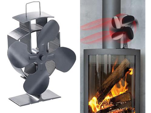 Ventilateur-répartiteur thermoélectrique pour poêle, 4 pales, 60 - 350°C
