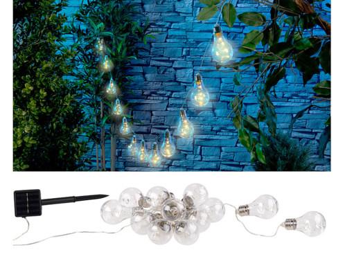 Guirlande lumineuse solaire à LED design ampoule classique - 8,5 m