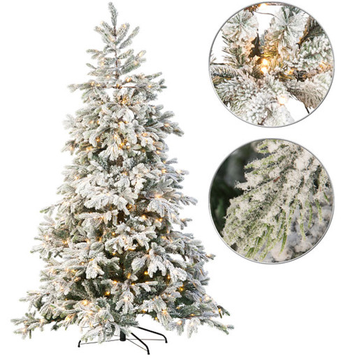 Sapin de Noël artificiel blanc 500 LED / 857 branches / 225 cm