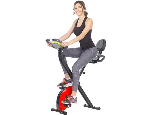 vélo d'appartement pliable avec dossier ordinateur de bord capteur poul support smartphone pearl sport