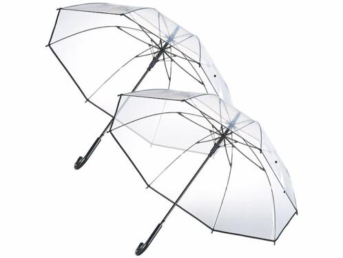 2 parapluies transparents Ø 100cm avec armature en fibre de verre