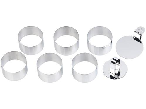 3 Cercles à patisserie inox 9 cm poussoir emporte piece sans soudure qualité pro