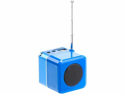 Station MP3 et radio de poche MPS-550.Cube - Bleu