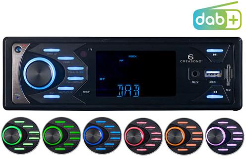 autoradio bluetooth sd usb mp3 avec reception fm et dab+ et microphone pour appels mains libres autorisés cas-4545.bt creasono