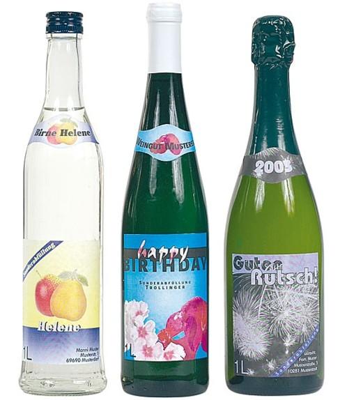 32 étiquettes 8,5 x 10 cm pour bouteilles avec banderoles