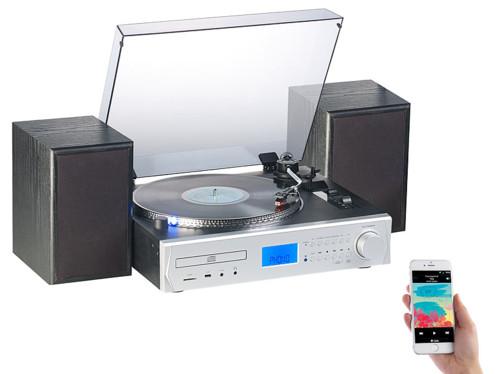 chaine hifi 2 haut parleur lecteur vinyle cd audio bluetooth encodeur numerisateur sur clé usb carte sd auvisio mhx620