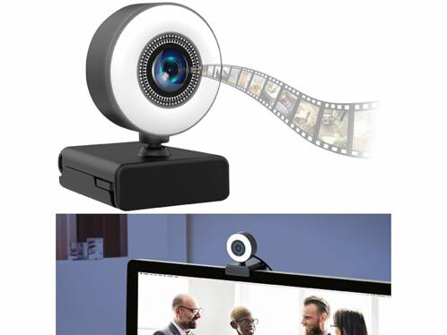 Webcam USB Full HD avec autofocus, double micro intégré et anneau d'éclairage