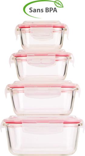 pack de 4 boites de conservation en verre avec couvercles en plastique avec clip de maintien rosenstein