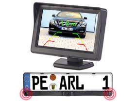 pack camera de recul intégrée dans support de plaque avec écran lcd 11cm lescars
