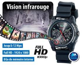 Montre-caméra Full HD 8 Go avec vision nocturne