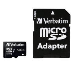 Carte micro-SDHC Verbatim de 16 Go avec adaptateur SD.