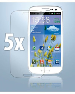 5 films de protection pour Samsung I9300 Galaxy S3