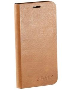 Étui folio en cuir véritable avec range-cartes pour Galaxy S6 - Brun
