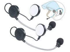 Lot de 2 micro-casques intercom stéréo avec bluetooth pour casque de moto